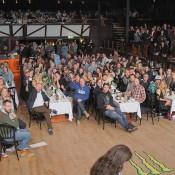 Utsikt från en scen. Förväntansfull publik. Tunghäfta.
